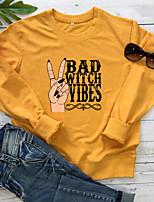 cheap -Women's Daily Pullover Sweatshirt Graphic Letter Casual Basic Hoodies Sweatshirts  Cotton Slim White Yellow Blushing Pink
