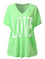 cheap -Women's Blouse Shirt Letter Print V Neck Tops Loose Basic Basic Top Blushing Pink Fuchsia Green