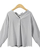 cheap -Women's Going out Blouse Shirt Striped Long Sleeve Bow Patchwork V Neck Tops Lantern Sleeve Loose Elegant Basic Top Black Blue Red