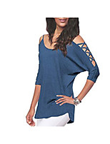 cheap -Women's Tunic Solid Colored Cut Out Round Neck Tops Loose Basic Basic Top White Black Blue