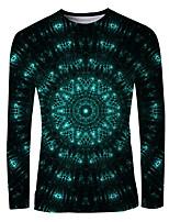 cheap -Men's Daily T-shirt Graphic 3D Print Long Sleeve Tops Basic Elegant Round Neck Black