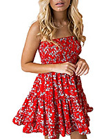 cheap -women's floral strapless pleated flowy skater mini tube dress red white