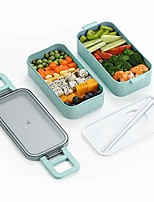 cheap -Bento Lunch Box Container With Divider-includes 2 Stackable Containers,built-in Plastic Chopsticks, Leakproof Microwave Safe