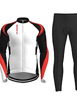 cheap -21Grams Men's Long Sleeve Cycling Jersey with Tights Winter Polyester Black / Yellow Red Novelty Bike Jersey Tights Clothing Suit Breathable Quick Dry Moisture Wicking Back Pocket Sports Novelty