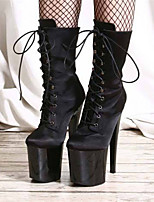 cheap -Women's Boots Pumps Round Toe Sexy Party & Evening Lace-up Solid Colored PU Booties / Ankle Boots Black