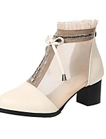 cheap -Women's Ballet Shoes Heel Thick Heel PU Leather Mesh Lace Top Black / Beige