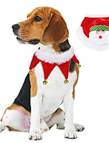 cheap -Dog Cat Ornaments Dog Scarf Dog Birthday Bandana Hat Christmas Casual / Daily Winter Dog Clothes White / Red Red Costume Plush S M