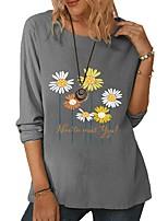 cheap -Women's Blouse Daisy Long Sleeve Print Round Neck Tops Basic Basic Top White Green Gray