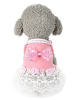 cheap -dog clothes wakeu bow lace tutu dress vest pet puppy apparel for small dog girl (pink)