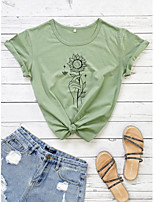cheap -Women's Shirt Graphic Prints Print Round Neck Tops 100% Cotton Basic Basic Top White Green Light gray