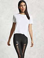 cheap -Women's Blouse Shirt Solid Colored Asymmetric Round Neck Tops Basic Basic Top White Black Brown