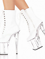 cheap -Women's Boots Pumps Round Toe Sexy Party & Evening Lace-up Solid Colored PU Booties / Ankle Boots White / Black
