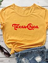 cheap -Women's T-shirt Graphic Prints Letter Print Round Neck Tops Slim 100% Cotton Basic Basic Top Yellow Gold