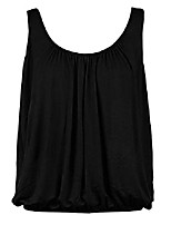 cheap -women& #39;s summer sleeveess pleated tank tops scoop neck casual plus size t-shirts stretch basic soft vest blouse 04-black 4