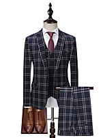 cheap -Tuxedos Tailored Fit / Standard Fit Notch Single Breasted One-button Cotton Blend / Cotton / Polyester Plaid Checkered / Gingham