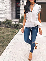 cheap -Women's Blouse Solid Colored Lace Trims V Neck Tops Basic Basic Top White
