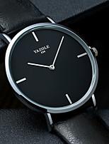 cheap -YAZOLE Men's Sport Watch Quartz Sporty Stylish Casual Water Resistant / Waterproof PU Leather Black Analog - Black Black / White