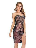 cheap -Women's A-Line Dress Short Mini Dress - Sleeveless Solid Color Sequins Embroidered Tassel Fringe Summer Strapless Sexy Party Club 2020 Rainbow S M L XL