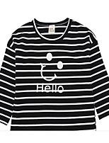 cheap -Kids Boys' Basic Black White Blue Striped Print Long Sleeve Tee White