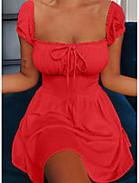 cheap -Women's Sheath Dress Short Mini Dress - Short Sleeve Solid Color Ruched Summer Square Neck Casual Daily Puff Sleeve Slim 2020 Black Red Yellow S M L XL