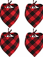 cheap -4 pcs dog bandana christmas pet triangle scarf accessories bibs red black plaid