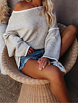 cheap -Women's Stylish Knitted Solid Color Plain Pullover Long Sleeve Sweater Cardigans Crew Neck Round Neck Fall Winter White