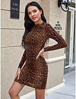cheap -Women's Sheath Dress Short Mini Dress - Long Sleeve Leopard Print Fall Winter Sexy Daily 2020 Brown S M L XL