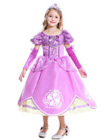 cheap -Princess Sofia Flapper Dress Cosplay Costume Girls' Movie Cosplay Active Purple Dress Halloween Children's Day Masquerade Polyester Organza