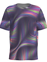 cheap -Men's Daily T-shirt Abstract Graphic Short Sleeve Tops Basic Round Neck Purple