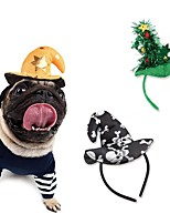 cheap -Dog Cat Ornaments Hats, Caps & Bandanas Hair Accessories Cartoon Christmas Cosplay Winter Dog Clothes Black Yellow Green Costume Fabric One-Size