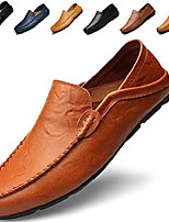 cheap -men's premium genuine leather casual slip on loafers breathable driving shoes fashion slipper brown 43
