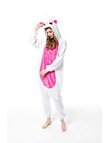 cheap -Adults' Kigurumi Pajamas Unicorn Bat Onesie Pajamas Flannelette White+Blue / White+Pink / Fuschia Cosplay For Men and Women Animal Sleepwear Cartoon Festival / Holiday Costumes