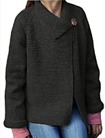cheap -Women's Sweater Coat Regular Solid Colored Daily Basic Black Blue Purple S M L