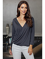 cheap -Women's Blouse Solid Colored Long Sleeve Pleated V Neck Tops Loose Basic Basic Top Blue Green Light gray