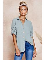 cheap -Women's Shirt Solid Colored Long Sleeve Shirt Collar Tops Loose Basic Basic Top Gray