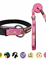 cheap -dog collar and leash set for large xl extra large big dogs puppy breed female male adjustable neck pink donuts print