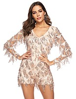 cheap -Women's Sheath Dress Short Mini Dress - Long Sleeve Solid Color Backless Sequins Summer V Neck Sexy Daily Holiday Slim 2020 Gold S M L XL