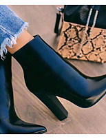 cheap -Women's Boots Pumps Pointed Toe Casual Basic Daily Solid Colored PU Booties / Ankle Boots Walking Shoes Black