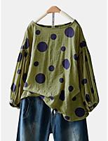 cheap -Women's Blouse Shirt Polka Dot Long Sleeve Round Neck Tops Loose Cotton Basic Basic Top Wine Army Green Green