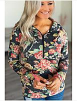cheap -Women's Pullover Sweatshirt Print Basic Hoodies Sweatshirts  Loose Yellow Dark Gray Rainbow