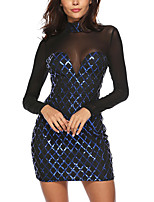 cheap -Women's A-Line Dress Short Mini Dress - Long Sleeve Print Sequins Mesh Summer Sexy Party Club 2020 Blue S M L XL XXL