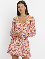 cheap -Women's A-Line Dress Short Mini Dress - Long Sleeve Floral Backless Bow Print Summer V Neck Casual Lantern Sleeve 2020 Red S M L XL
