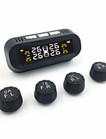 cheap -Hidden External Tire Pressure Monitoring System Voice Wireless Smart Tire Safety Monitor Solar Power TPMS Tire Pressure Monitoring System with 4 External Cap Sensors Real Time Pressure Monitor