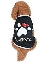 cheap -dog shirts footprint & love pet clothes tank top sleeveless shirts for small dog and cat