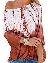 cheap -Women's Blouse Shirt Tie Dye Long Sleeve Print Off Shoulder Tops Loose Basic Basic Top Black Blue Red
