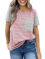 cheap -women& #39;s stripes color block tops short sleeve t-shirts blouses pink l