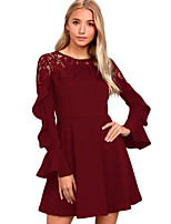 cheap -Women's A-Line Dress Knee Length Dress - Long Sleeve Solid Color Ruffle Patchwork Fall Casual Slim 2020 Wine S M L