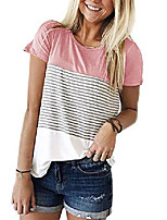 cheap -women casual short sleeve stripe t-shirt color block shirts blouse tee pullover tunic tops pink xxl