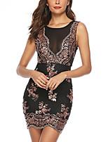 cheap -Women's A-Line Dress Short Mini Dress - Sleeveless Solid Color Sequins Mesh Summer Sexy Party Club 2020 Black S M L XL XXL