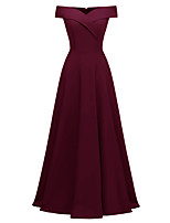 cheap -A-Line Elegant Minimalist Party Wear Formal Evening Dress Off Shoulder Short Sleeve Floor Length Satin with Pleats 2020